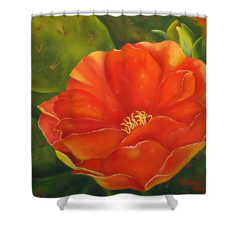 Cactus Shower Curtain featuring the painting Cruces Bloom by Teresa Lynn Johnson