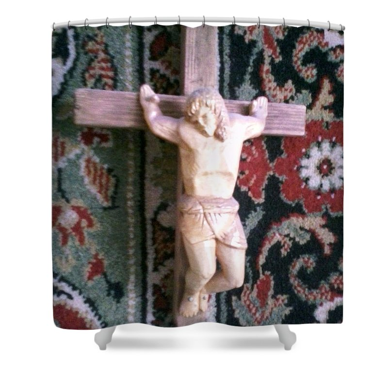 Crucifix Shower Curtain featuring the sculpture Crucifix by Artyom Ukhov