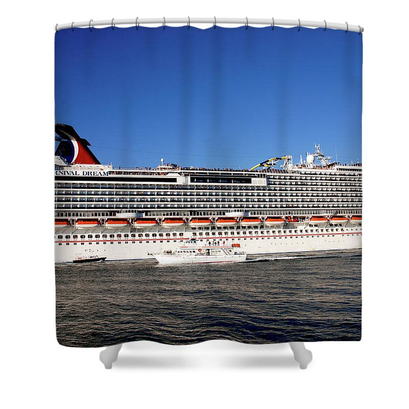 Cruise Ship Shower Curtain featuring the photograph Cruise Ship Is Leaving The Port by Susanne Van Hulst