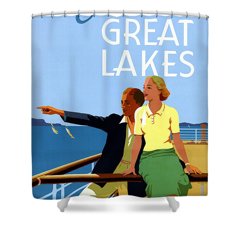 Vintage Shower Curtain featuring the painting Cruise The Great Lakes Vintage Travel Poster by Vintage Treasure