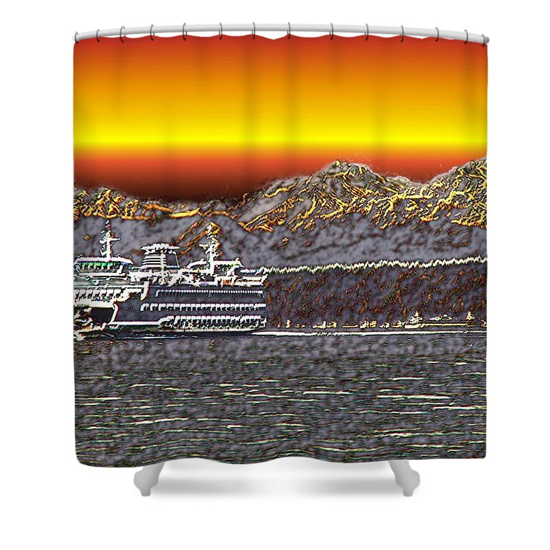 Seattle Shower Curtain featuring the photograph Cruisin The Sound by Tim Allen