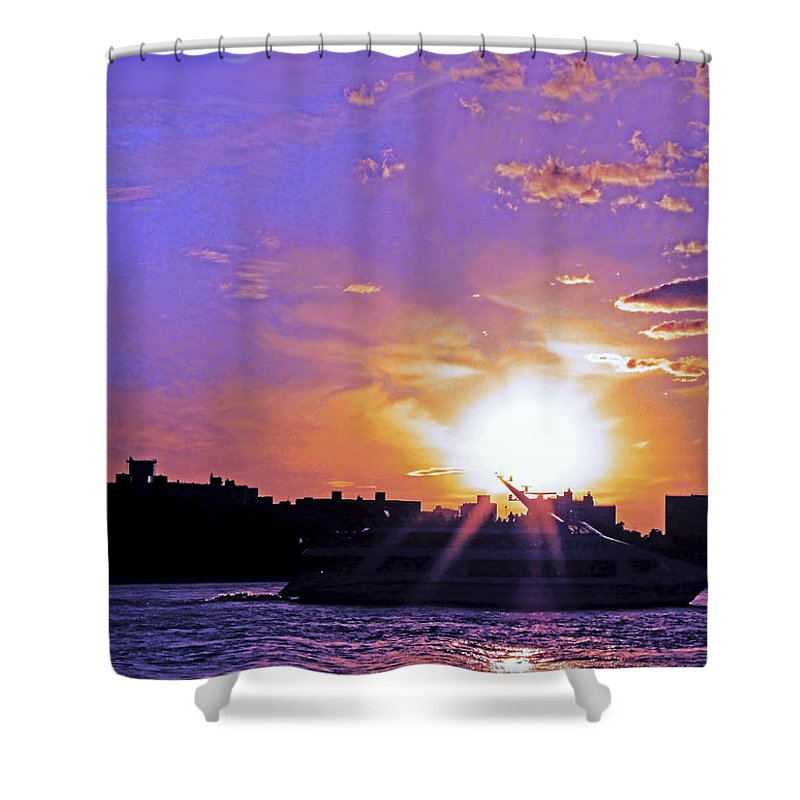 Boat Shower Curtain featuring the photograph Cruising Down The Hudson by Kendall Eutemey