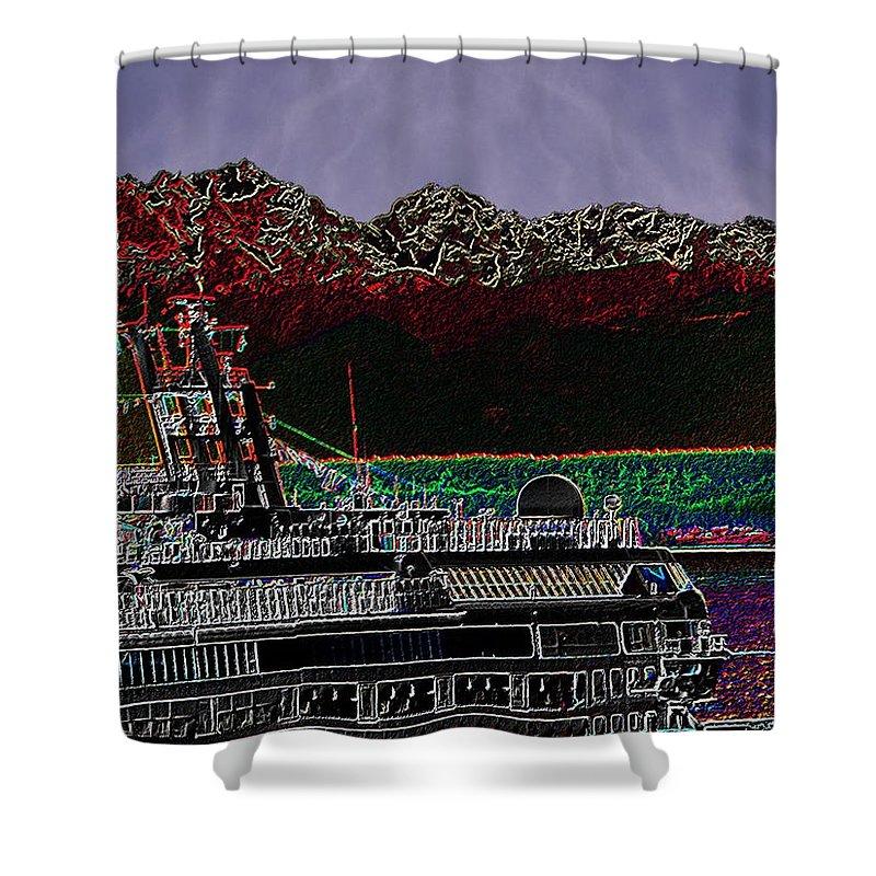 Seattle Shower Curtain featuring the digital art Cruising Puget Sound by Tim Allen