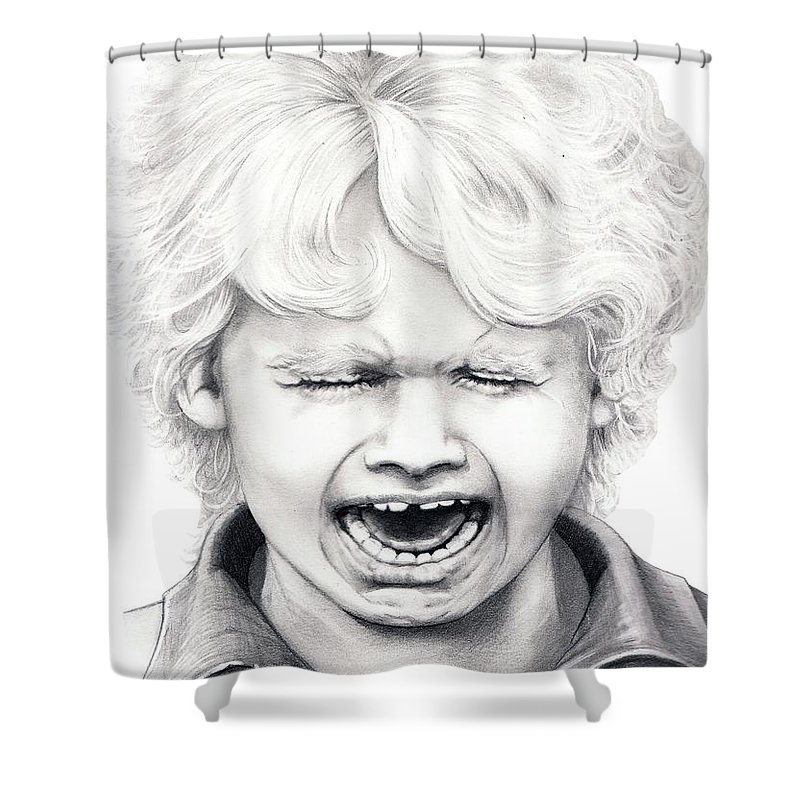Drawing Shower Curtain featuring the drawing Cry Baby by Murphy Elliott