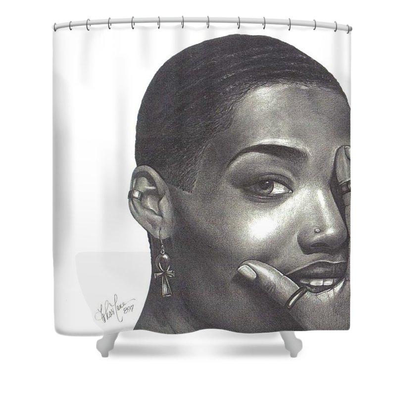 Woman Shower Curtain featuring the drawing Crystal Blaque by Charlene Cooper