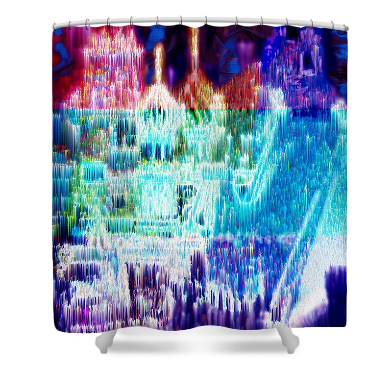 Northern Lights Shower Curtain featuring the digital art Crystal City by Seth Weaver