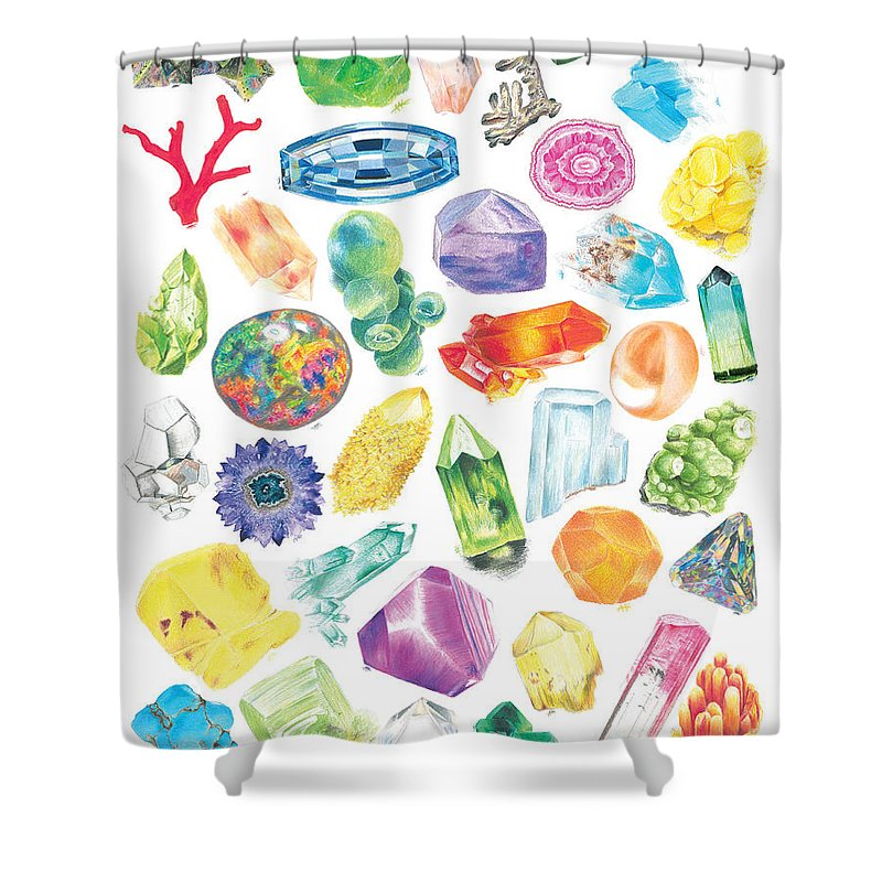 Colored Pencil Shower Curtain featuring the drawing Crystal Confetti II by Abigail Kramer