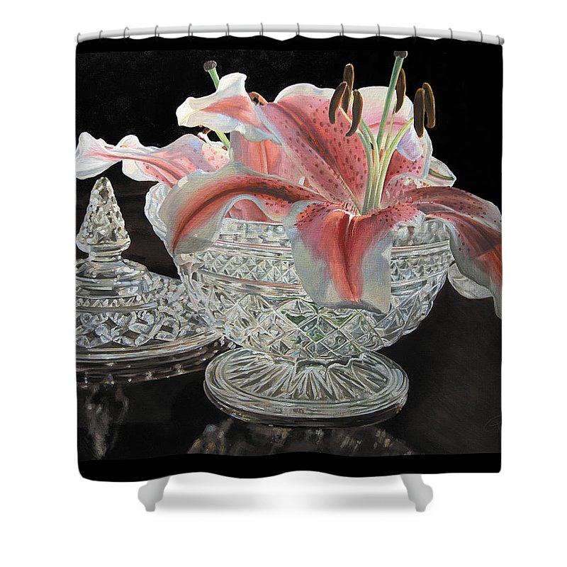 Lily Shower Curtain featuring the painting Crystal Stargazer by Rebecca Zook