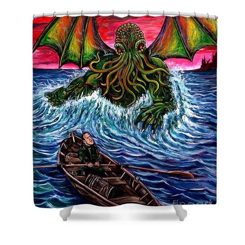 Lovecraft Shower Curtain Featuring The Painting Cthulhu Rising By Jose Mendez