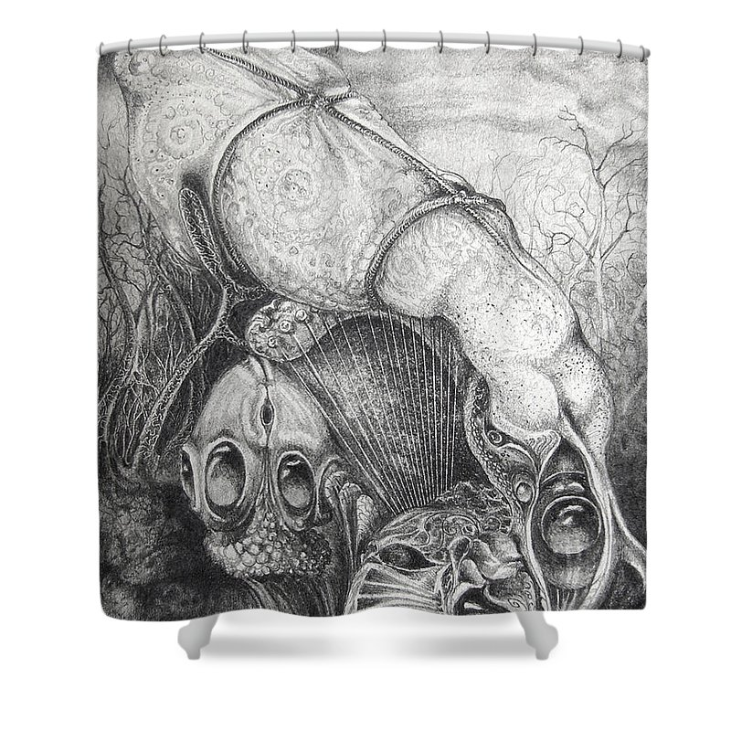 Surrealism Shower Curtain featuring the drawing Ctulhu Seedpods by Otto Rapp