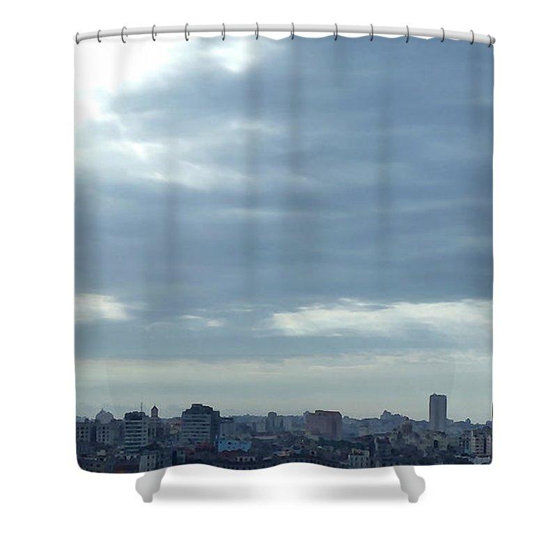 Digital Art Shower Curtain featuring the digital art Cuba City And Skyline Art by Francesca Mackenney