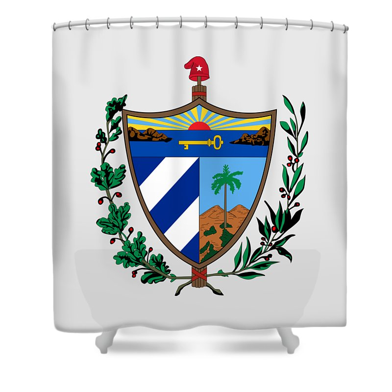 Cuba Shower Curtain featuring the drawing Cuba Coat Of Arms by Movie Poster Prints