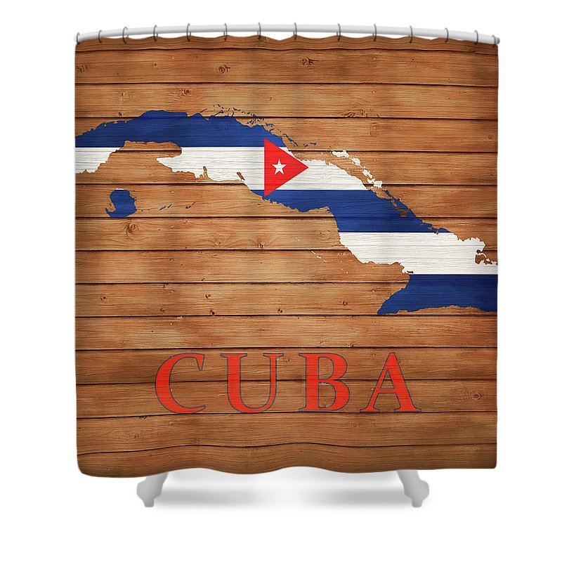 Cuba Rustic Map On Wood Shower Curtain featuring the mixed media Cuba Rustic Map On Wood by Dan Sproul