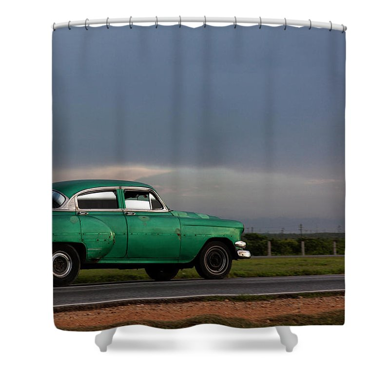 Cuban Car At Sunset; Cuban; Cuba; Car; Sunset; Car; Cars; Green; Motorsport Art; Motorsport; Luxury; Oldtimer; Youngtimer; Happiness; Photography & Digital Art; Photography; Photo; Photo Art; Art; Digital Art; 2bhappy4ever; 2bhappy4ever.com; 2bhappy4evercom; Tobehappyforever; Shower Curtain featuring the digital art Cuban Car at Sunset by Erron