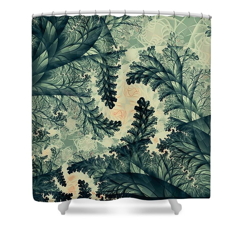 Plant Shower Curtain featuring the digital art Cubano Cubismo by Casey Kotas