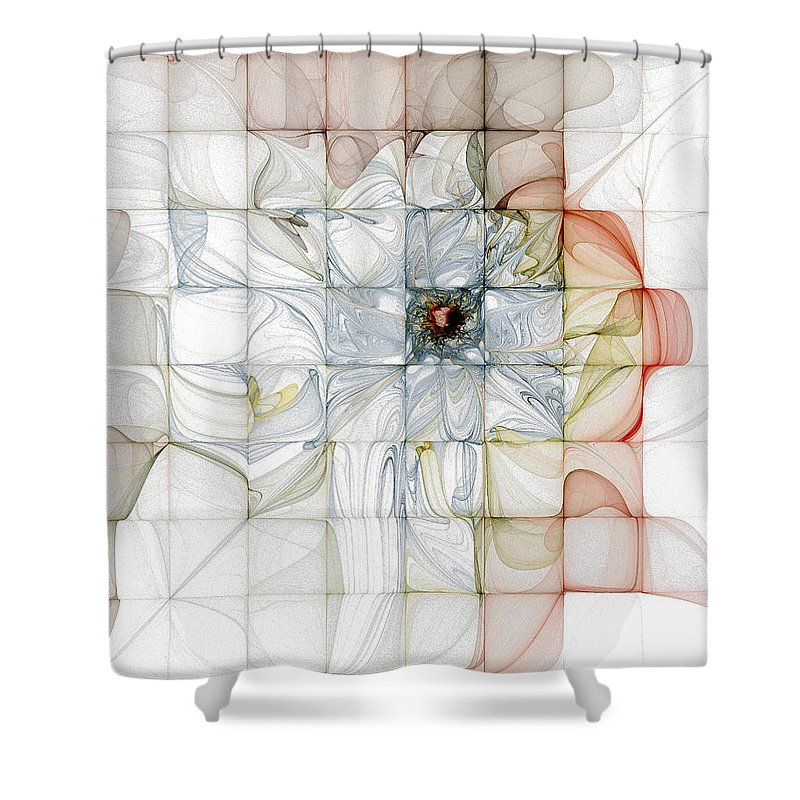 Digital Art Shower Curtain featuring the digital art Cubed Pastels by Amanda Moore
