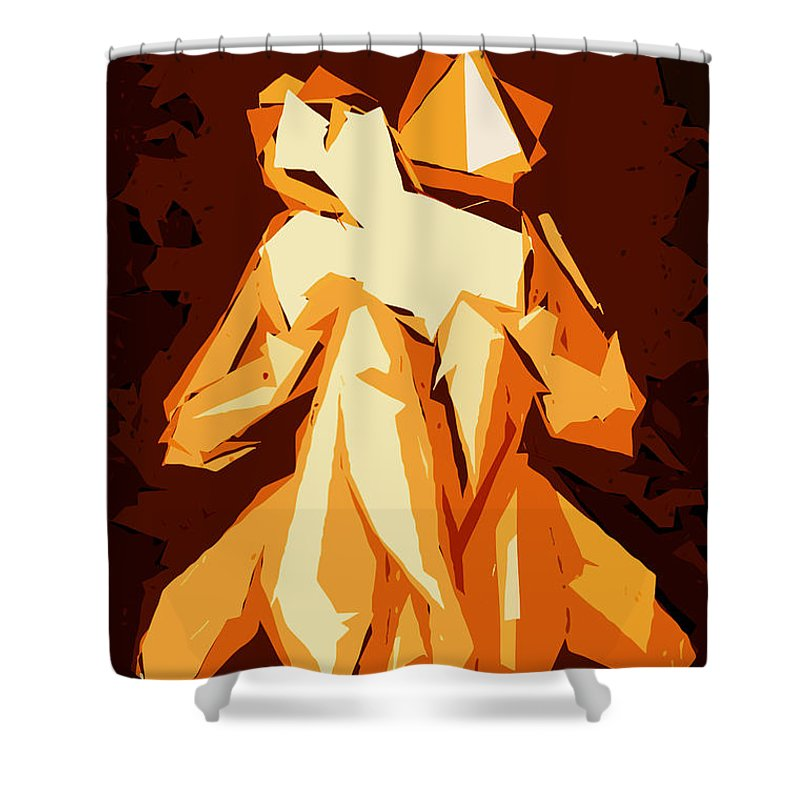 Female Shower Curtain featuring the digital art Cubism Series Xxii by Rafael Salazar