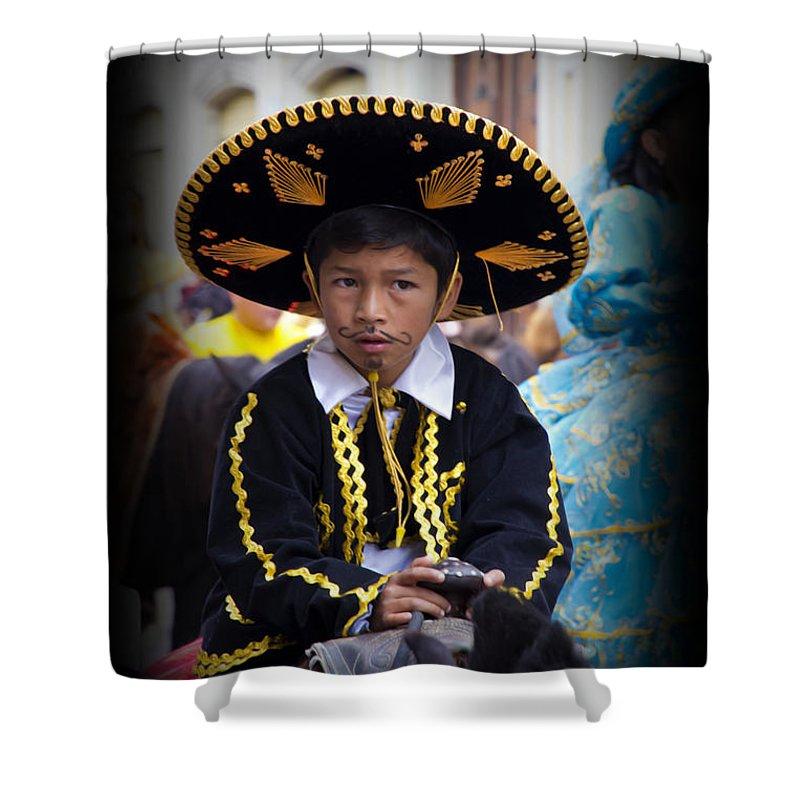 Boy Shower Curtain featuring the photograph Cuenca Kids 670 by Al Bourassa