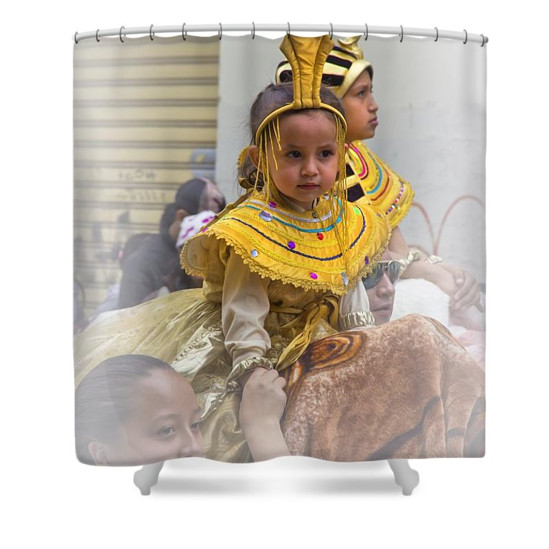 Boy Shower Curtain featuring the photograph Cuenca Kids 672 by Al Bourassa