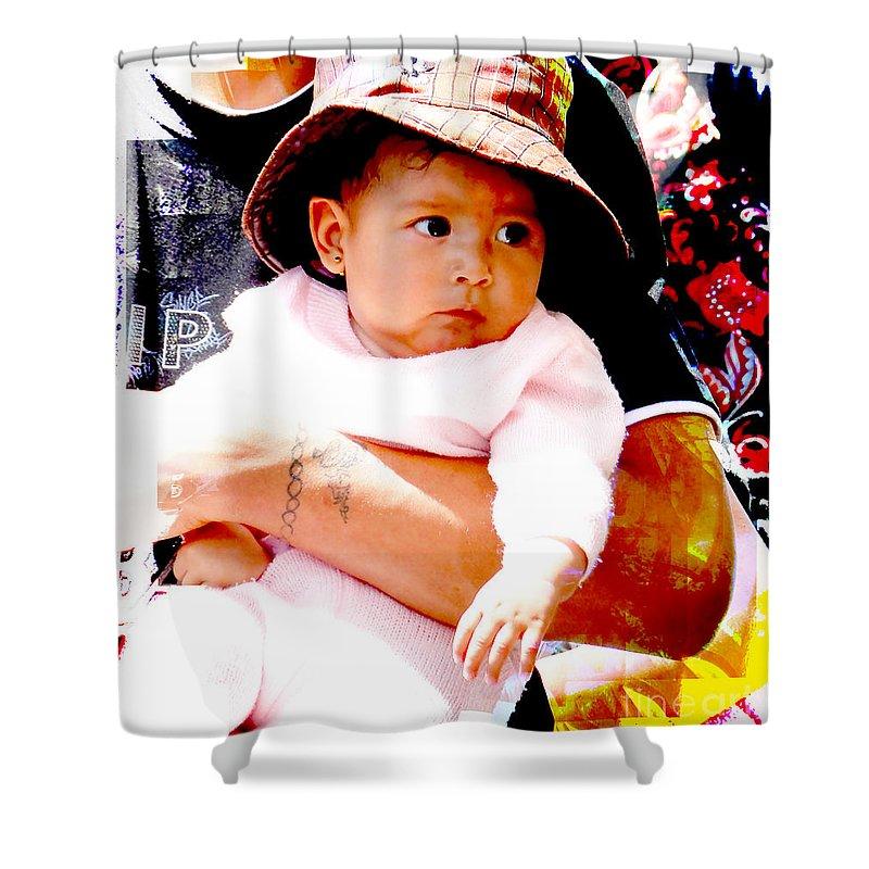 Boy Shower Curtain featuring the photograph Cuenca Kids 908 by Al Bourassa