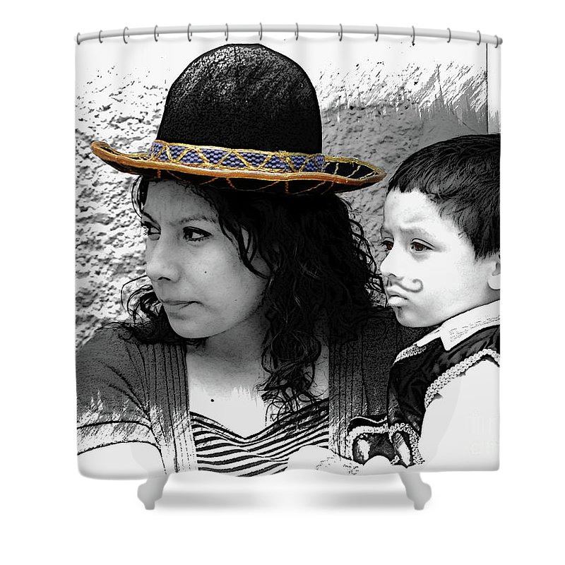 Mother Shower Curtain featuring the photograph Cuenca Kids 912 by Al Bourassa