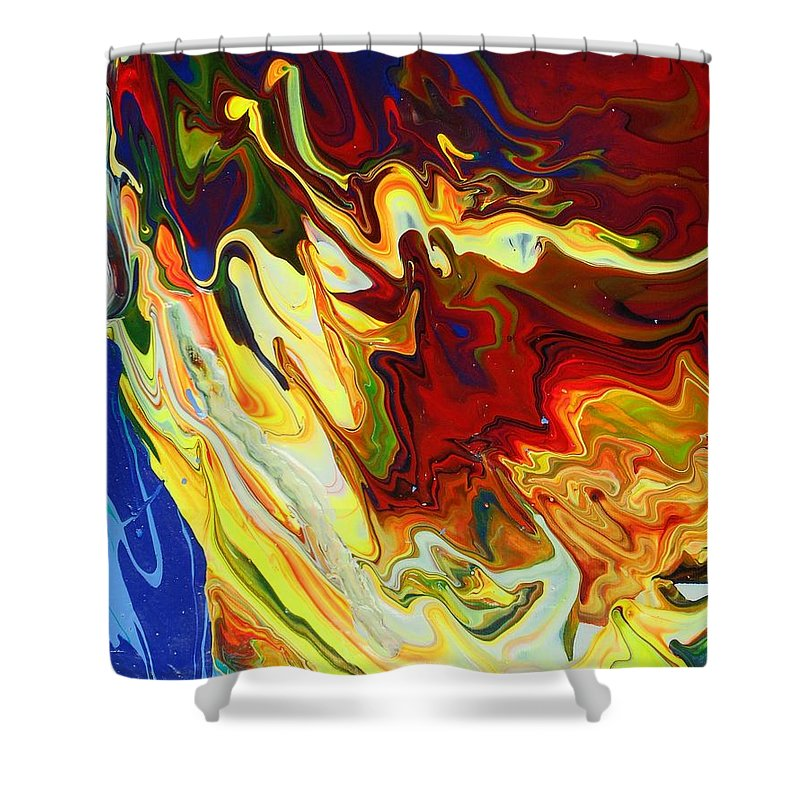 Acrylic Shower Curtain featuring the painting Culebras Voladores Or Flying Snakes by Ronald Oliver