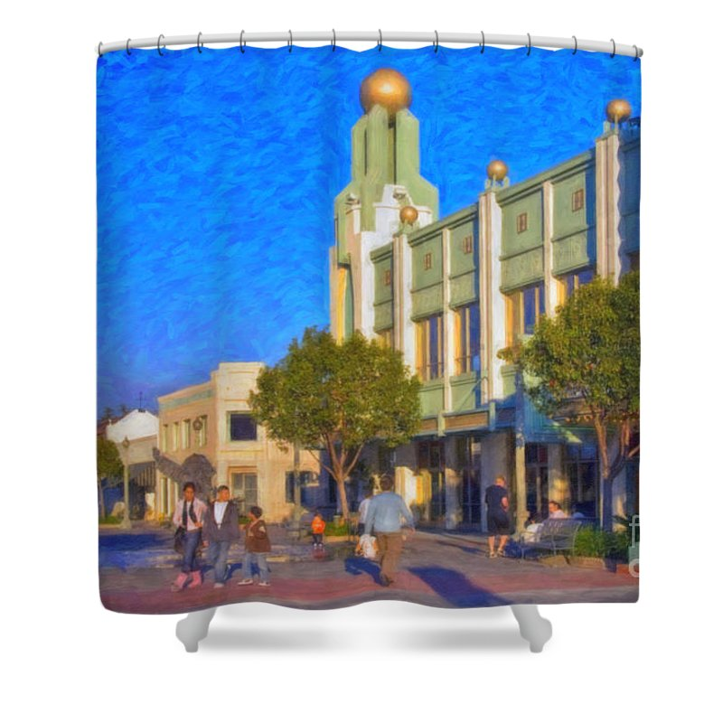 Culver City Plaza Theaters Los Angeles California Shower Curtain featuring the photograph Culver City Plaza Theaters  by David Zanzinger