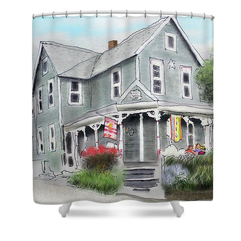 Cup-a-joe�s Coffee Shop Shower Curtain featuring the drawing Cup A Joes Coffee Shop by Albert Puskaric