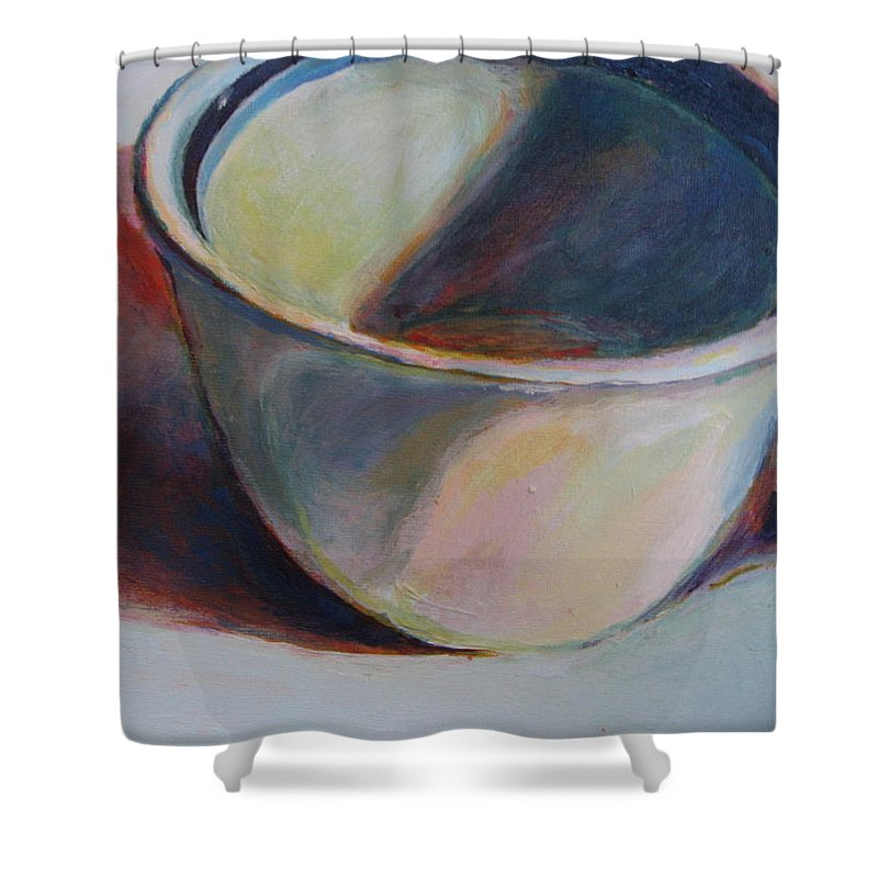 Still Life Color Shadow Light Shower Curtain featuring the painting Cup And Shadow 1 by Patricia Hegedus