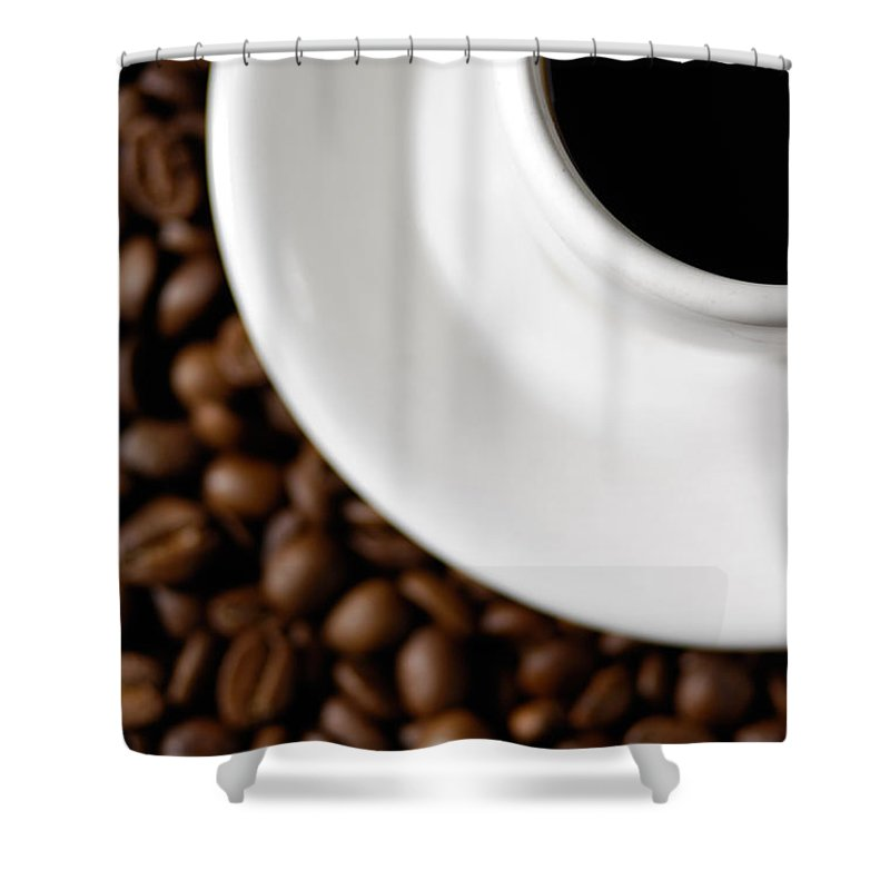 Cup Shower Curtain featuring the photograph Cup Of Black Coffee On Coffee Beans by Maxim Images Prints
