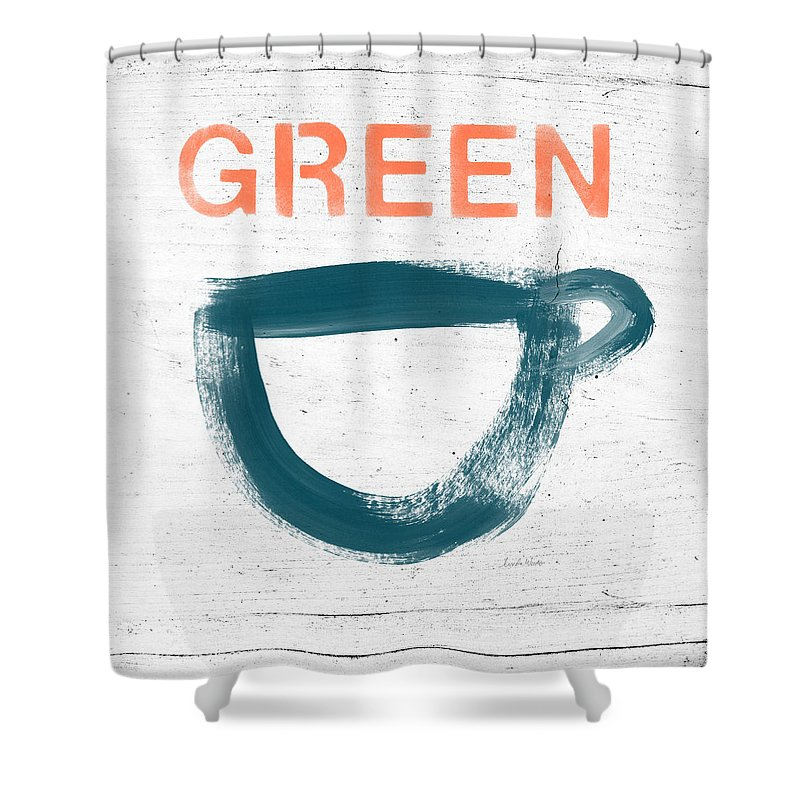 Tea Shower Curtain featuring the painting Cup Of Green Tea- Art By Linda Woods by Linda Woods