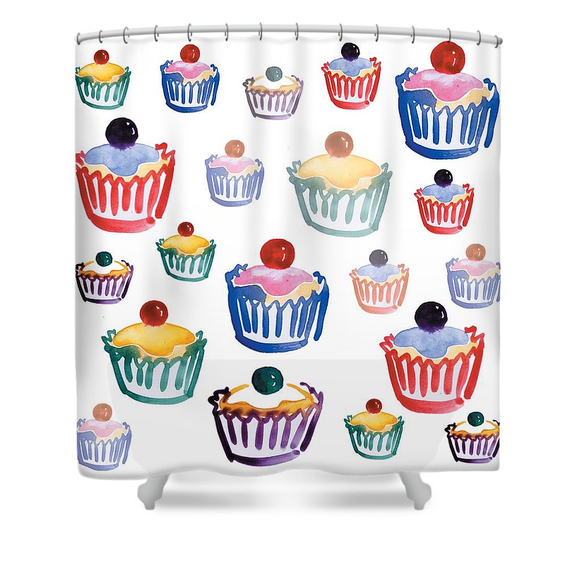 Cupcake Shower Curtain featuring the digital art Cupcake Crazy by Sarah Hough