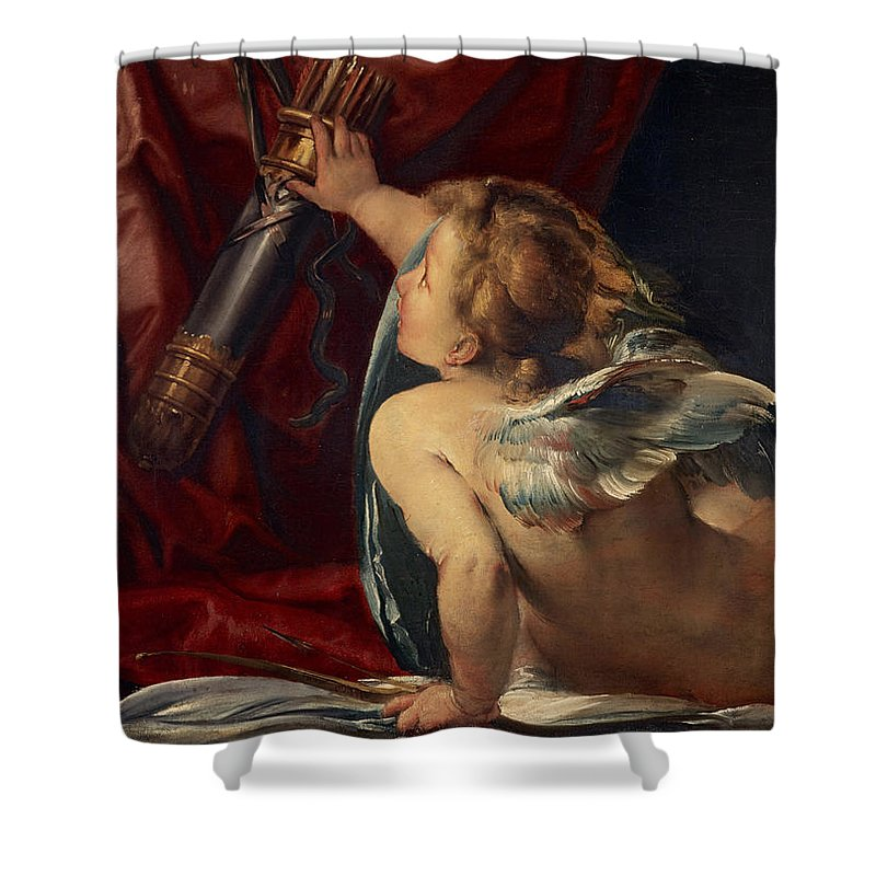 Giulio Shower Curtain featuring the painting Cupid by Giulio Cesare Procaccini