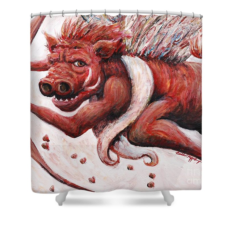 Pig Shower Curtain featuring the painting Cupig by Nadine Rippelmeyer