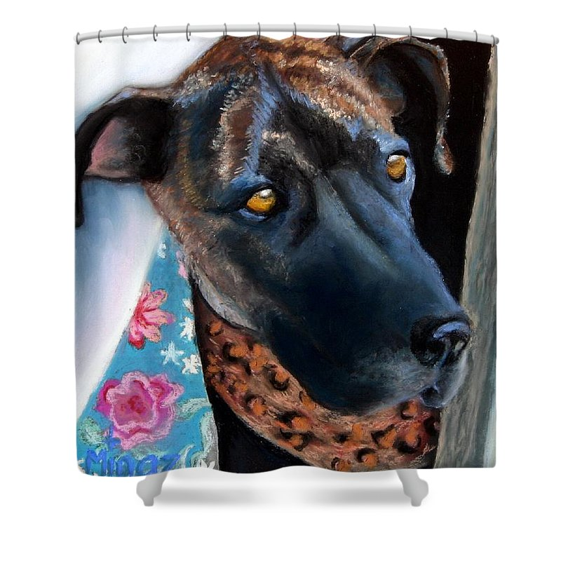 Great Dane Shower Curtain featuring the painting Whats Going On? by Minaz Jantz