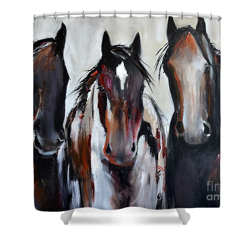 Horse Shower Curtain featuring the painting Curious Three by Cher Devereaux