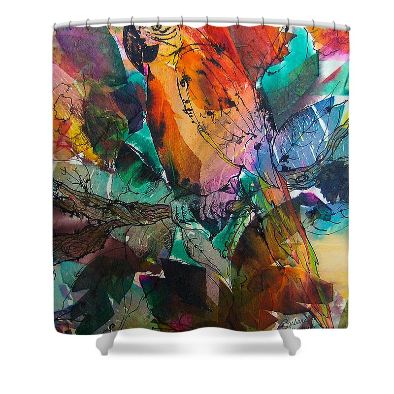 Parrots Shower Curtain featuring the painting Curly by Barbara Colangelo