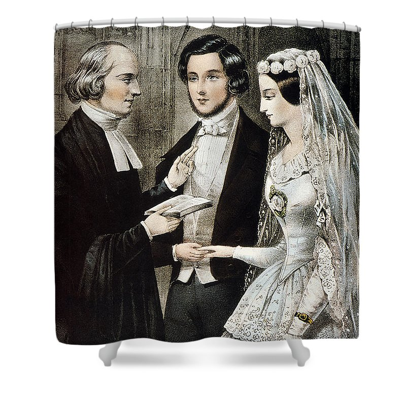 1847 Shower Curtain featuring the photograph Currier: The Marriage by Granger