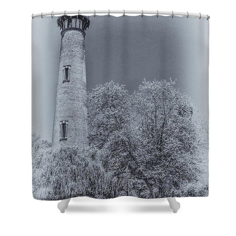 Currituck Beach Lighthouse Shower Curtain featuring the digital art Currituck Beach Lighthouse by Randy Steele