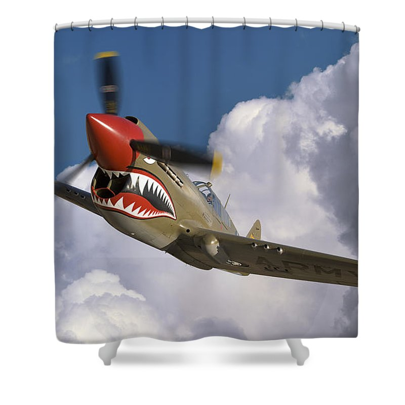 Flying Tigers Shower Curtain featuring the photograph Curtiss P-40n Warhawk by Larry McManus