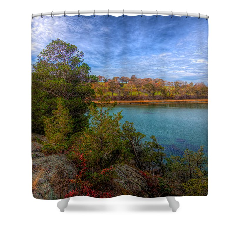 New England Shower Curtain featuring the photograph Curve At The End by David Henningsen