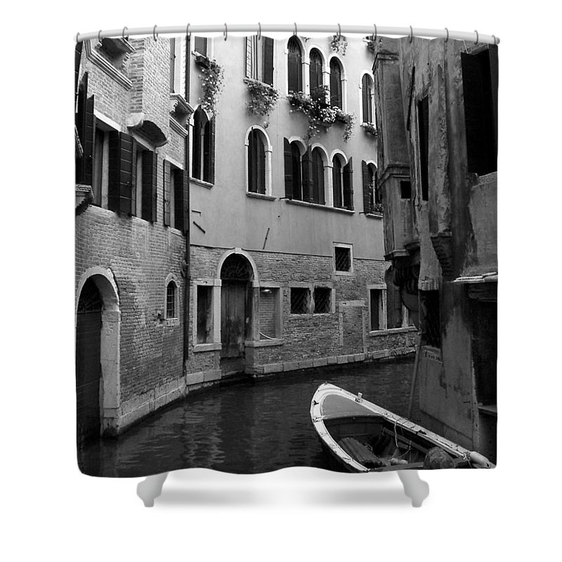 Venice Shower Curtain featuring the photograph Curved Canal by Donna Corless