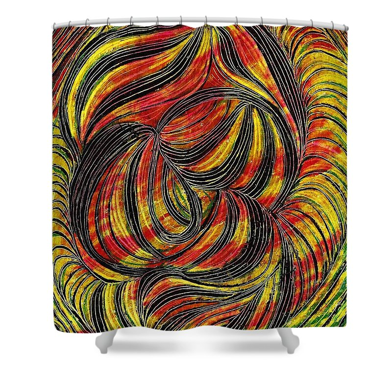 Curve Shower Curtain featuring the drawing Curved Lines 2 by Sarah Loft