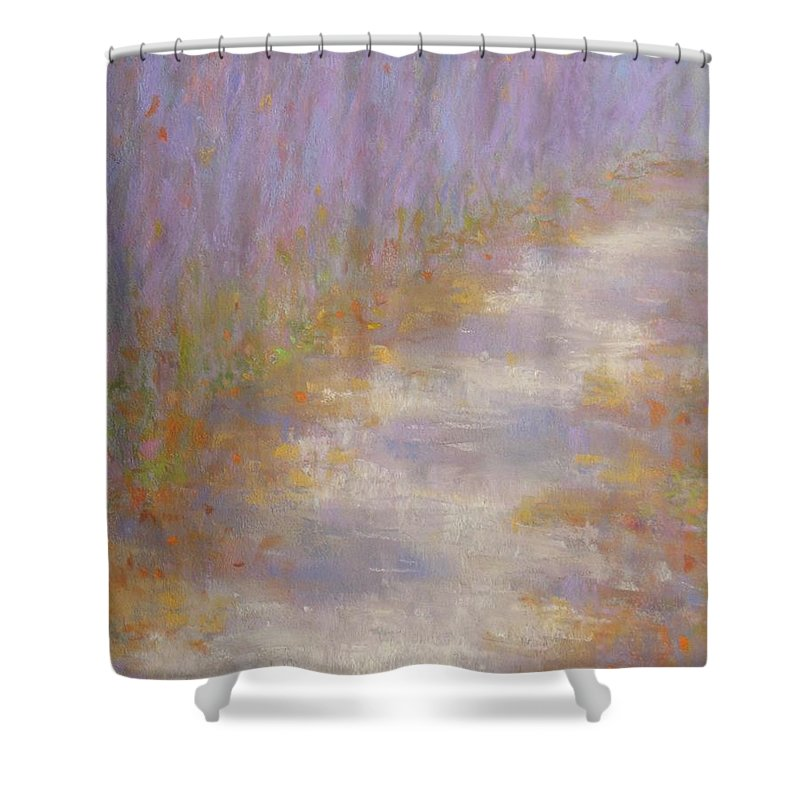Autumn Shower Curtain featuring the painting Curving Road, Late Autumn by Michael Gillespie