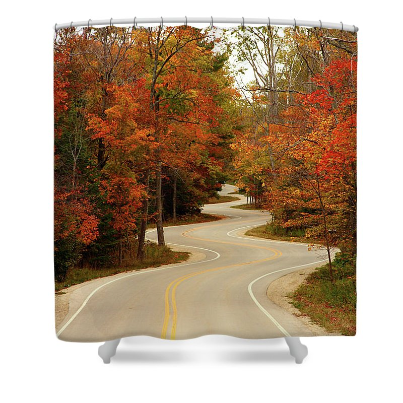 3scape Shower Curtain featuring the photograph Curvy Fall by Adam Romanowicz