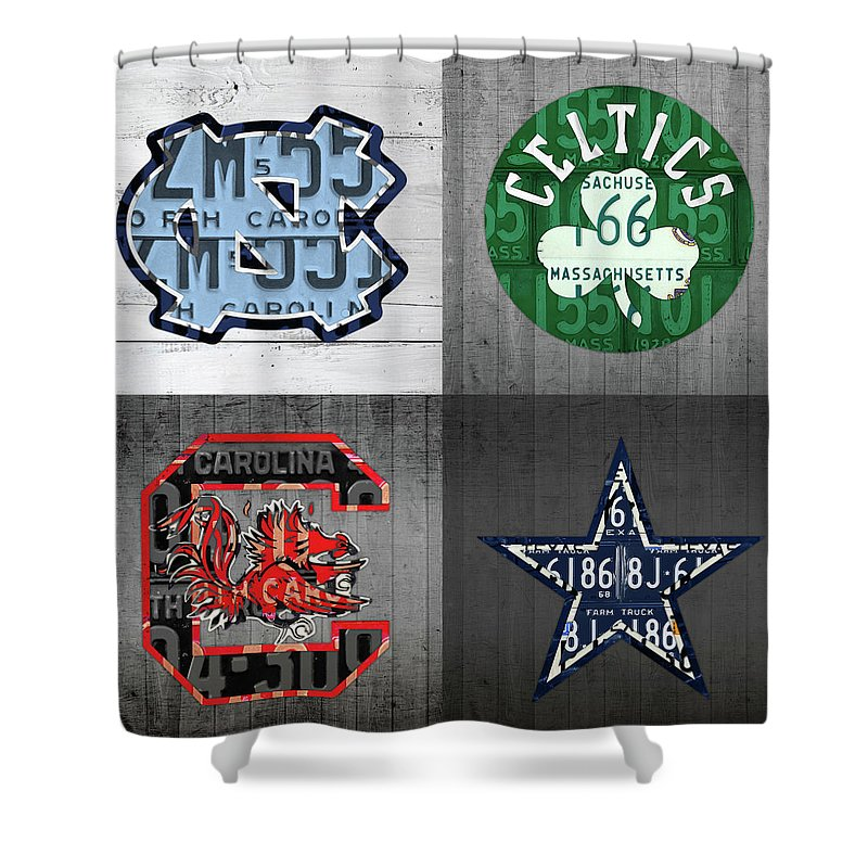 Unc Shower Curtain featuring the mixed media Custom 4 Team License Plates Sport Art No 1 by Design Turnpike