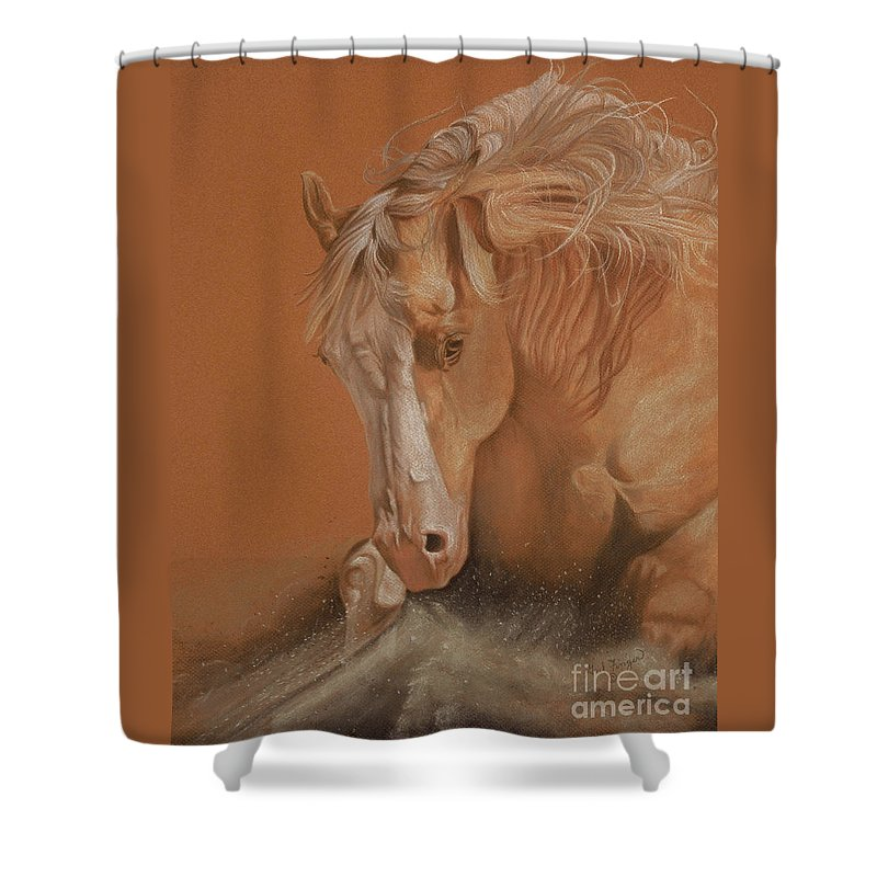 Horse Shower Curtain featuring the painting Cutting Horse by Gail Finger