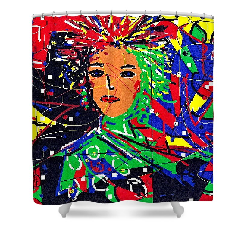Woman Shower Curtain featuring the digital art Cyberspace Goddess by Natalie Holland