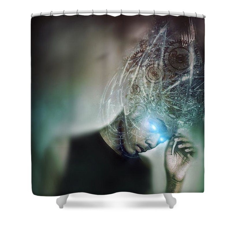 Darkart Shower Curtain featuring the photograph Cyborg by John Adams Emnace