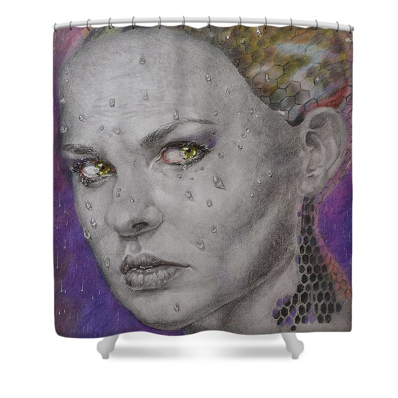 Woman Shower Curtain featuring the drawing Cyborg by Yaroslav Paraponyak
